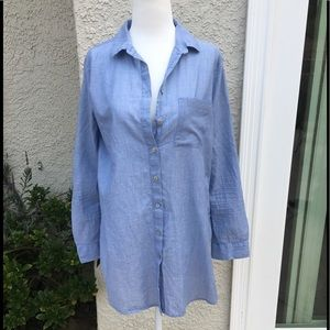 BeachLunchLounger Long Sleeve Chambray Cover up S